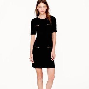 J. Crew Factory Black Zipper Ponte Dress